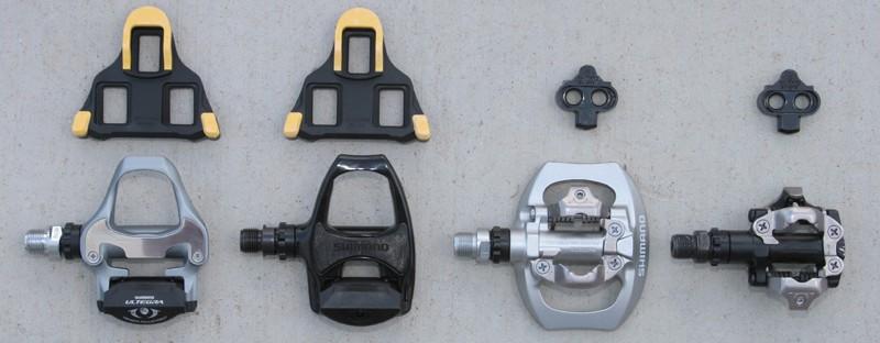 Pedais e tacos de estrada e MTB